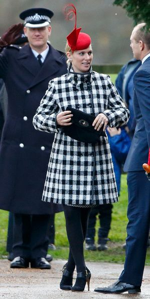 Zara Phillips departs after attending the Sunday service at St Mary Magdalene Church, Sandringham on December 27, 2015 in King's Lynn, England.