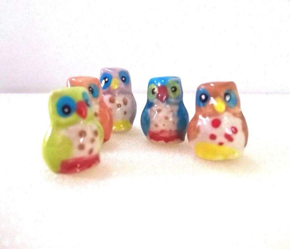 2 Tiny Owl Dollhouse Miniature Ceramic Animal Figurines