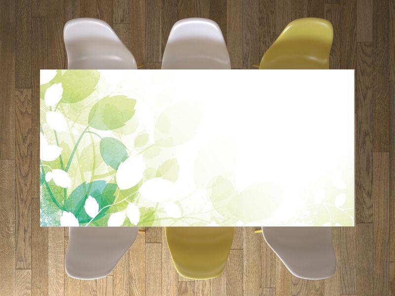 """Zarte Blumenprints in weichen Grüntönen - das Design """"Flower Light"""" für deinen Tisch überzeugt durch graziles Unterstatement! #tisch #tischfolie #tischdecke #flower"""