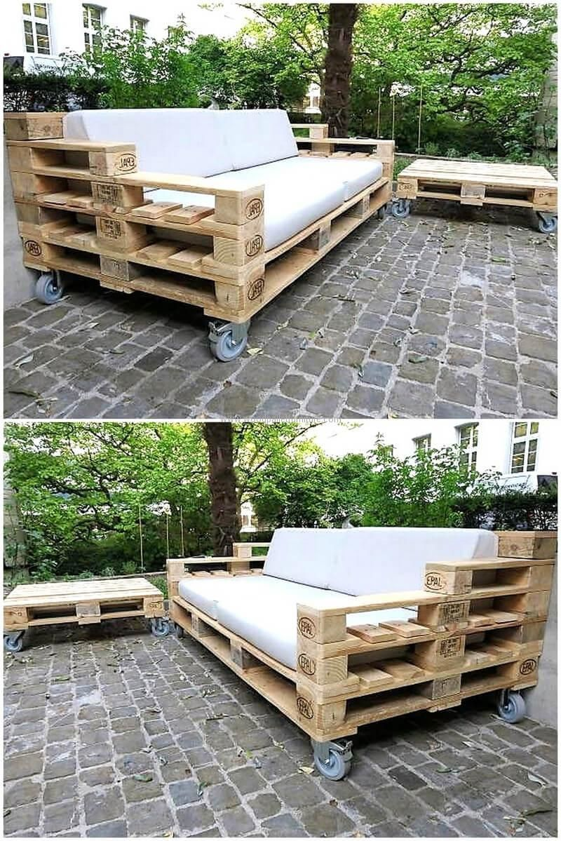 pallets patio couch on wheels | quinta | Pinterest | Muebles ...