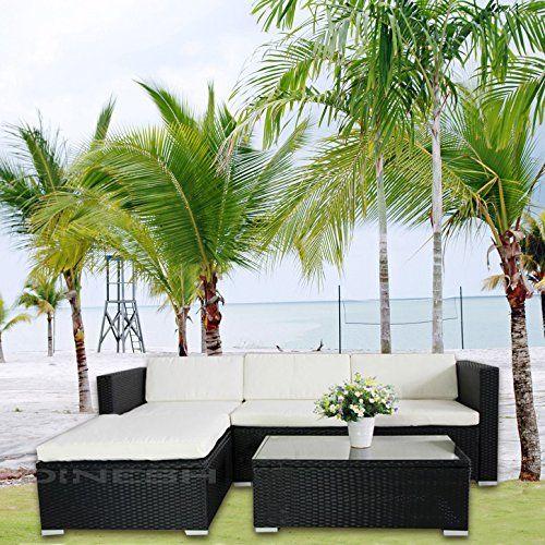 6034) POLY RATTAN Lounge Schwarz Gartenset Sofa Garnitur - rattan lounge gartenmobel