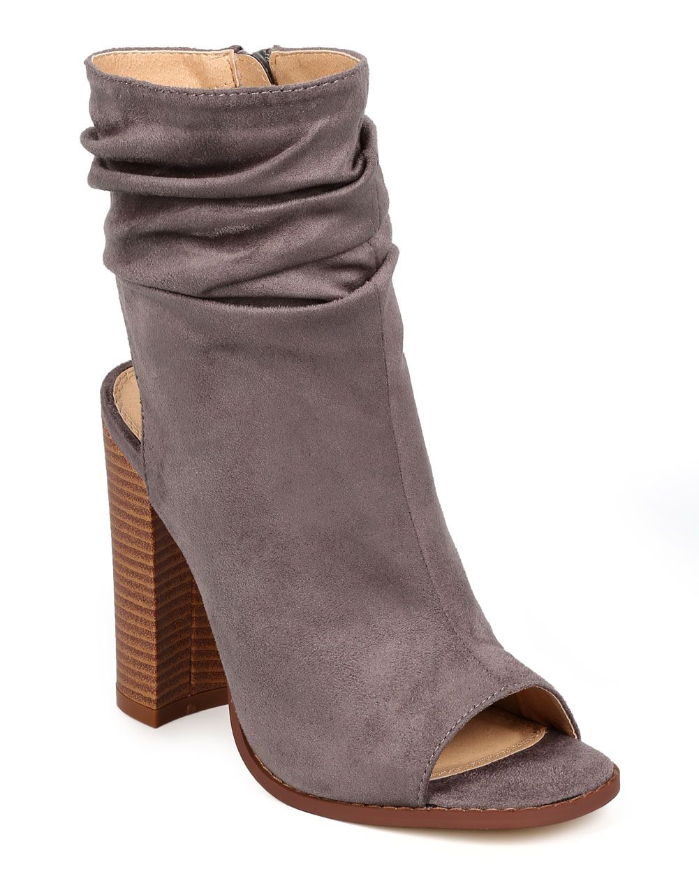 Women's Open Peep Toe Cut Out Chunky Stacked Heel Zip up Ankle Booties High Heel Slouch Boots