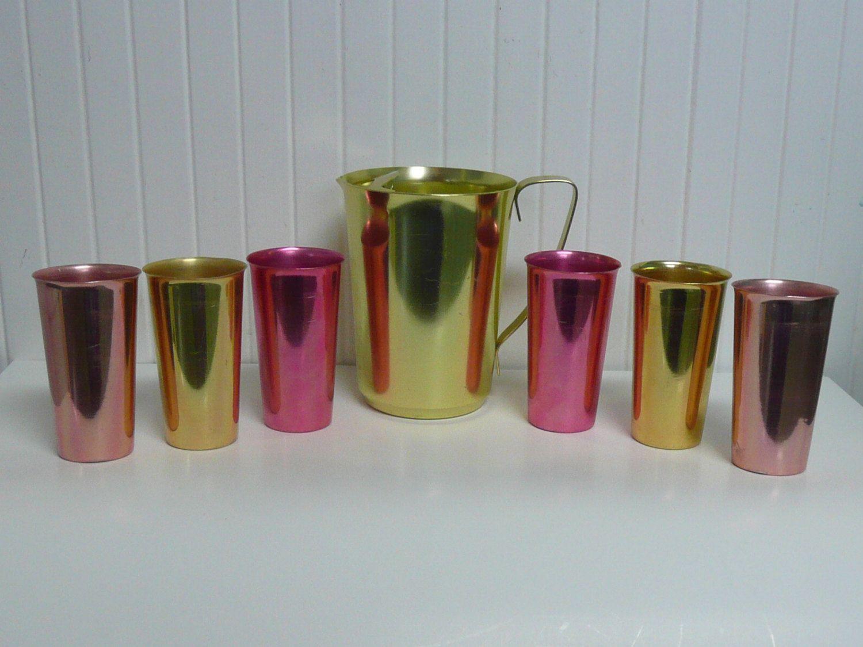 RARE Vintage Anodized Aluminum Set, Gold Water Pitcher