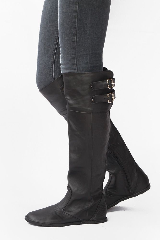 Image Of Knee High Leather Boots In Black Zero Drop And Custom Fit Knee High Leather Boots Boots Barefoot Boots