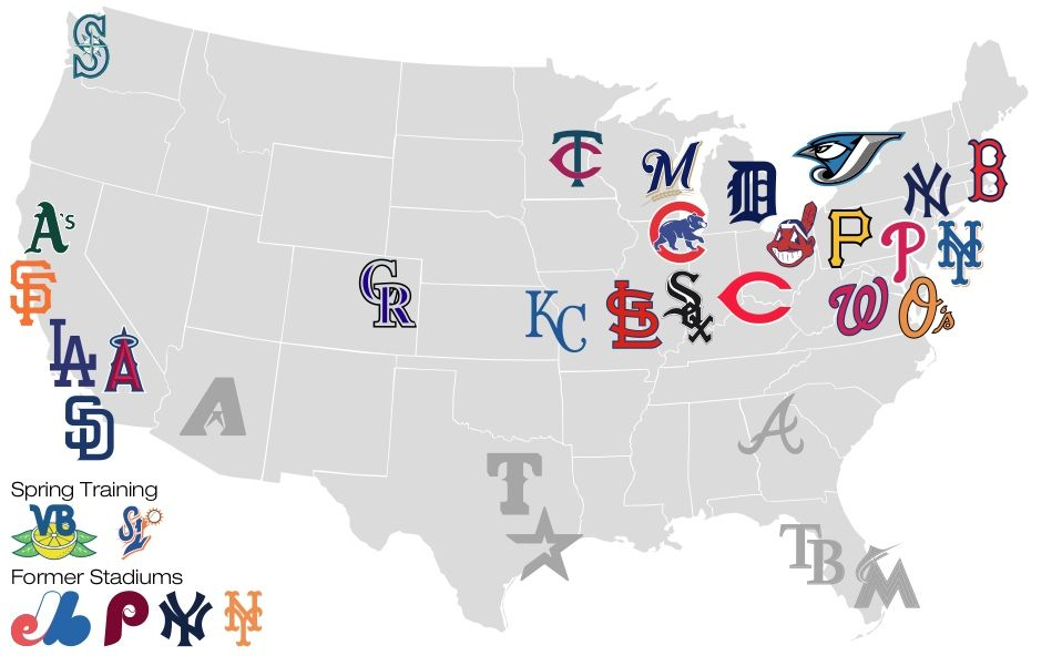 Map Of Major League Baseball Teams Lets Go Somewhere - Mlb us map