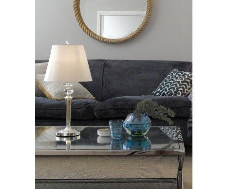 Ava 1 light medium table lamp in silver with white shadelighting beacon lighting
