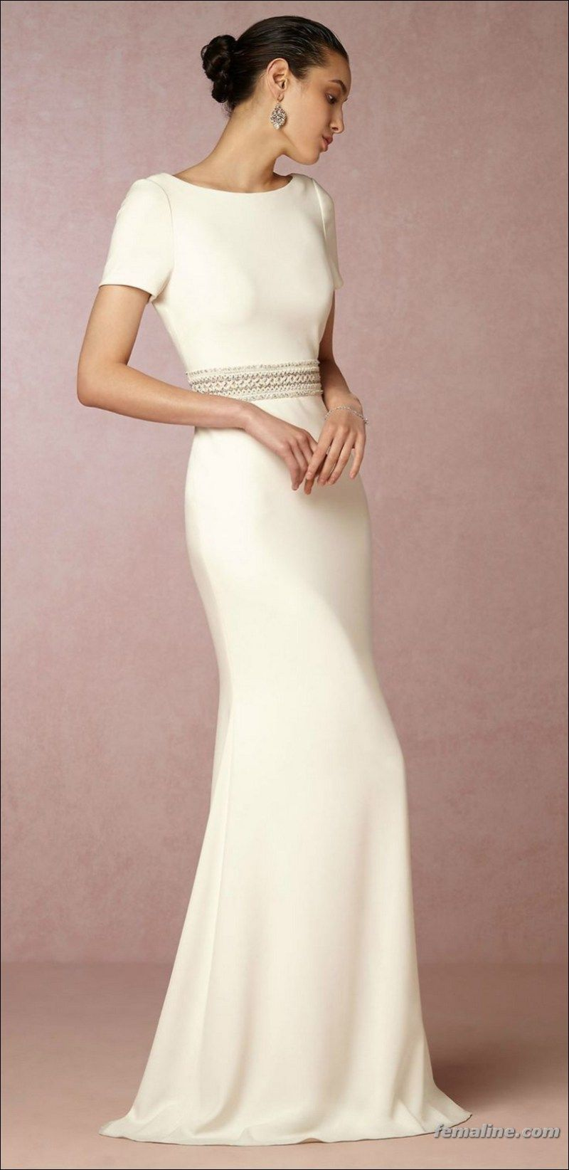 Wedding dress short in front with long train   Short Sleeve Wedding Dress Trend   Gowns with Short or Cap