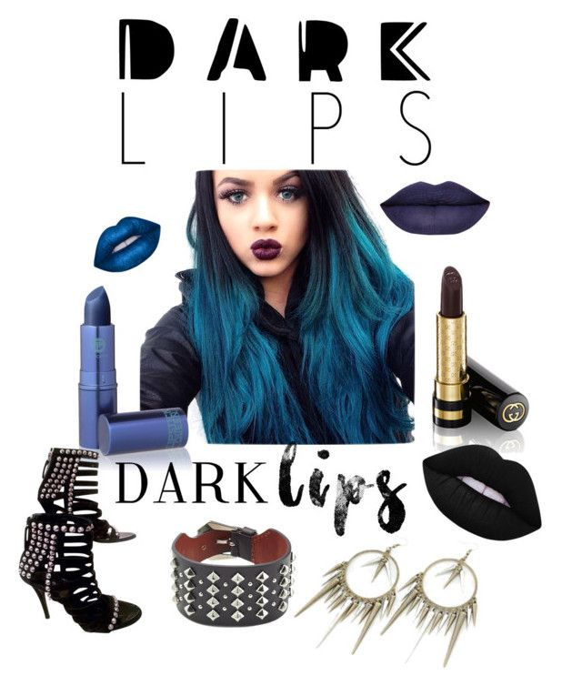 """""""Dark Lips Warm Heart"""" by mountainalive ❤ liked on Polyvore featuring beauty, Lime Crime, Lipstick Queen, Gucci, Giuseppe Zanotti and Alexander McQueen"""
