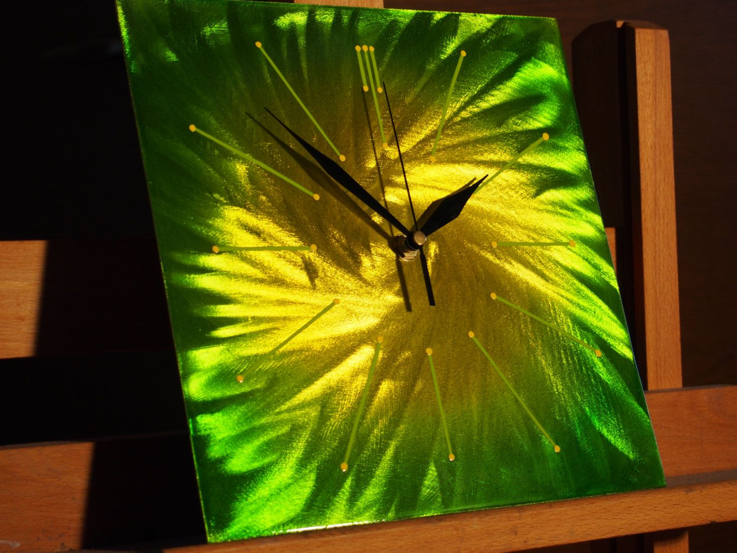 25cm Square Yellow Green Unique Spiral Candy Wall Clock ...
