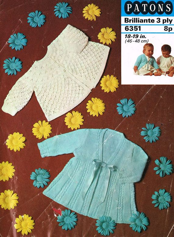 Patons 6351 Two Designs Baby Matinee Coat Vintage Knitting Pattern