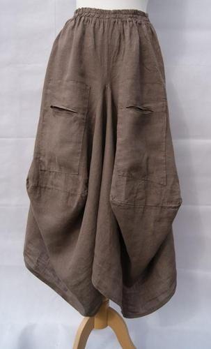 71be7b2fa5a Lagenlook OSFA Diverse Range Italian 100% Parachute Style Skirt MOCHA BROWN Linen  Pants