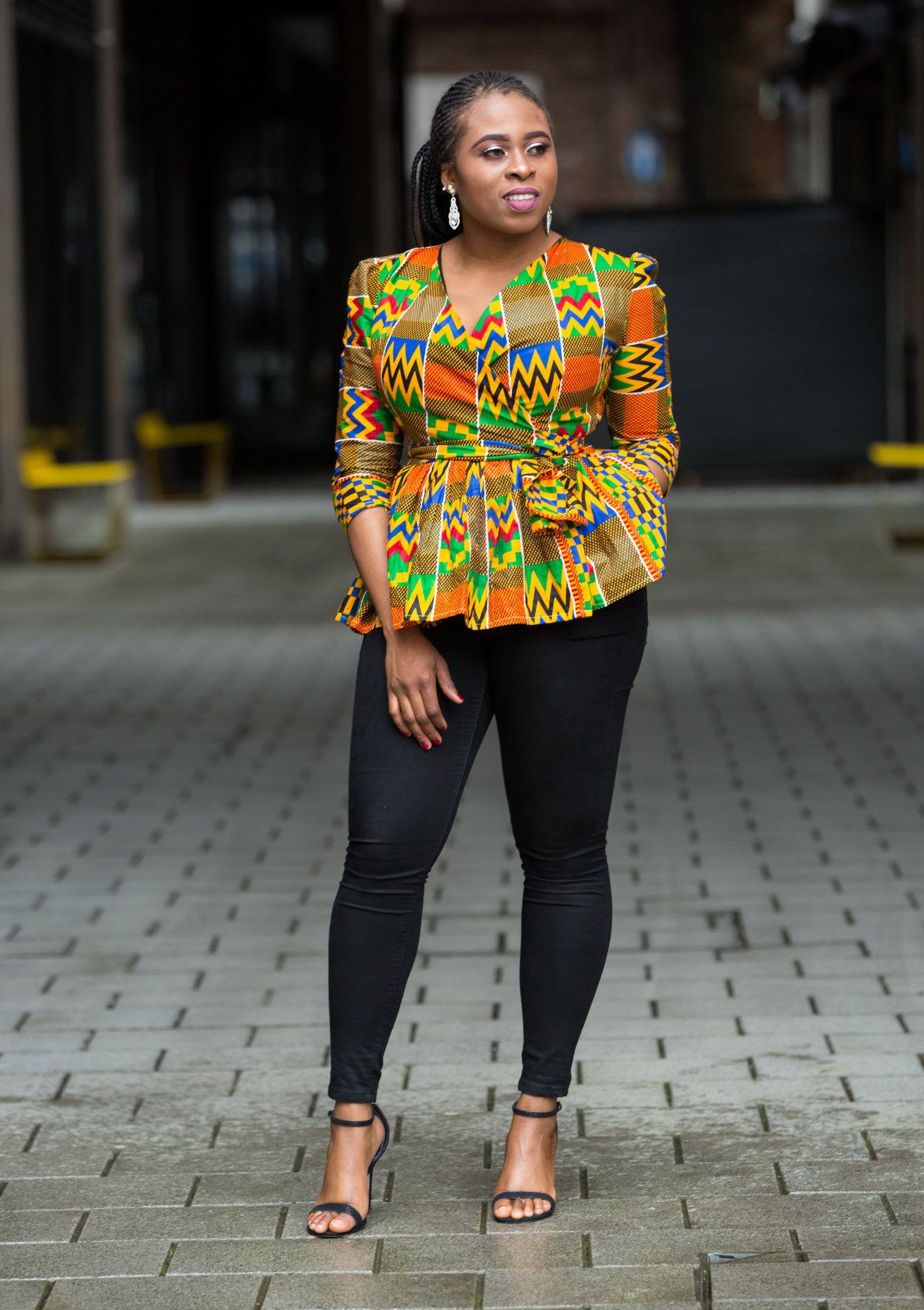 70878e985ca143 Ankara peplum top, african print top, wrap top in 2019 | African ...