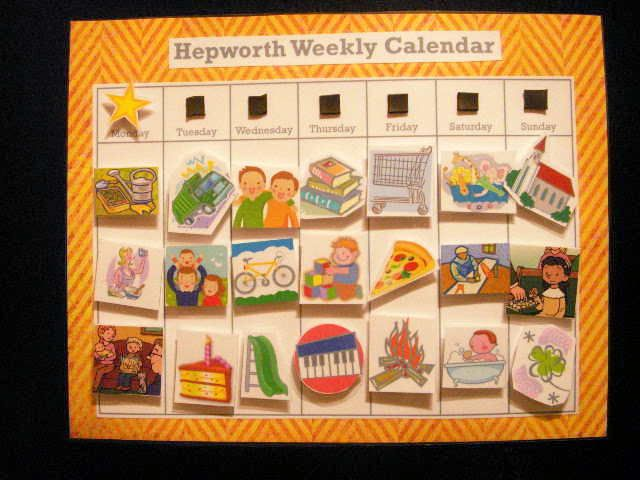 Weekly Calendar Kids : Cute idea for a visual weekly calendar toddlers and