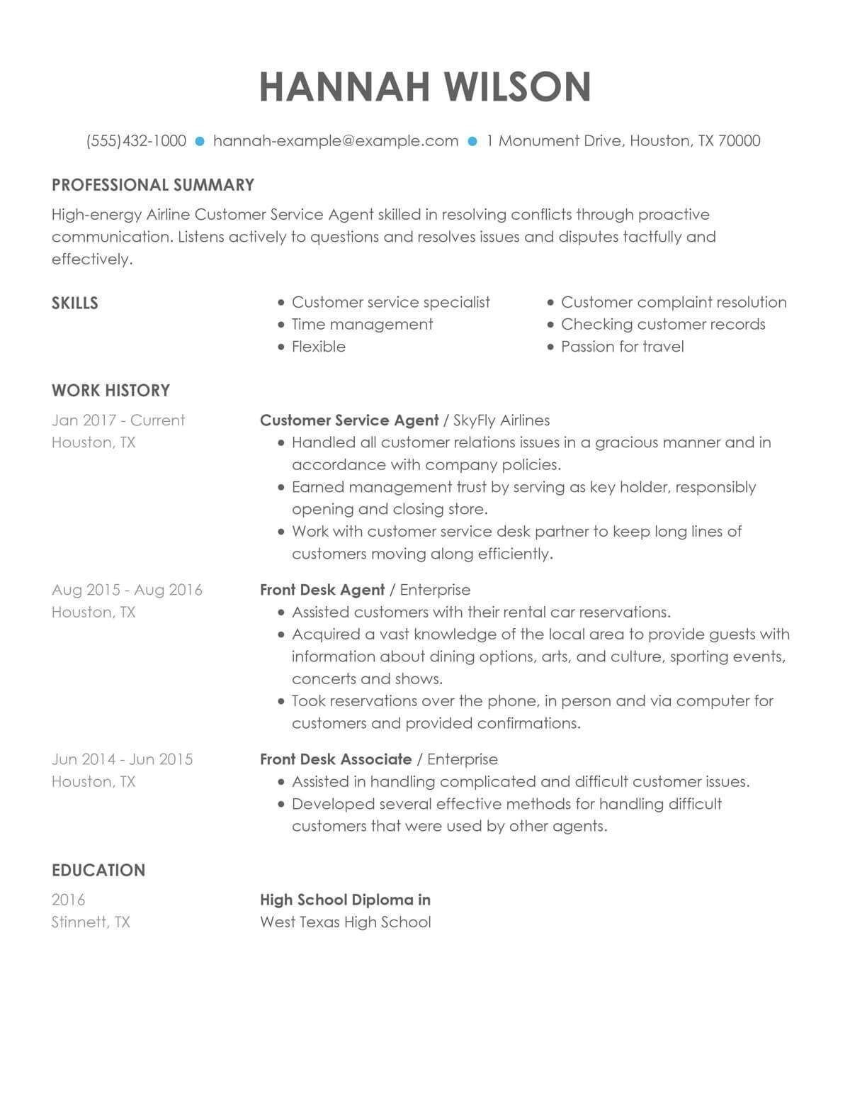 Skills On A Resume Examples For Customer Service
