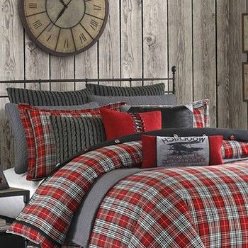 A Red Green Plaid Bedding Set For The Winter Season Farmhouse Bedding Sets Plaid Bedding Plaid Bedroom