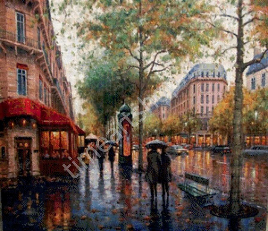 Дождливый день, картина раскраска по номерам, размер 40*50 ...  Дождливый Город Картина