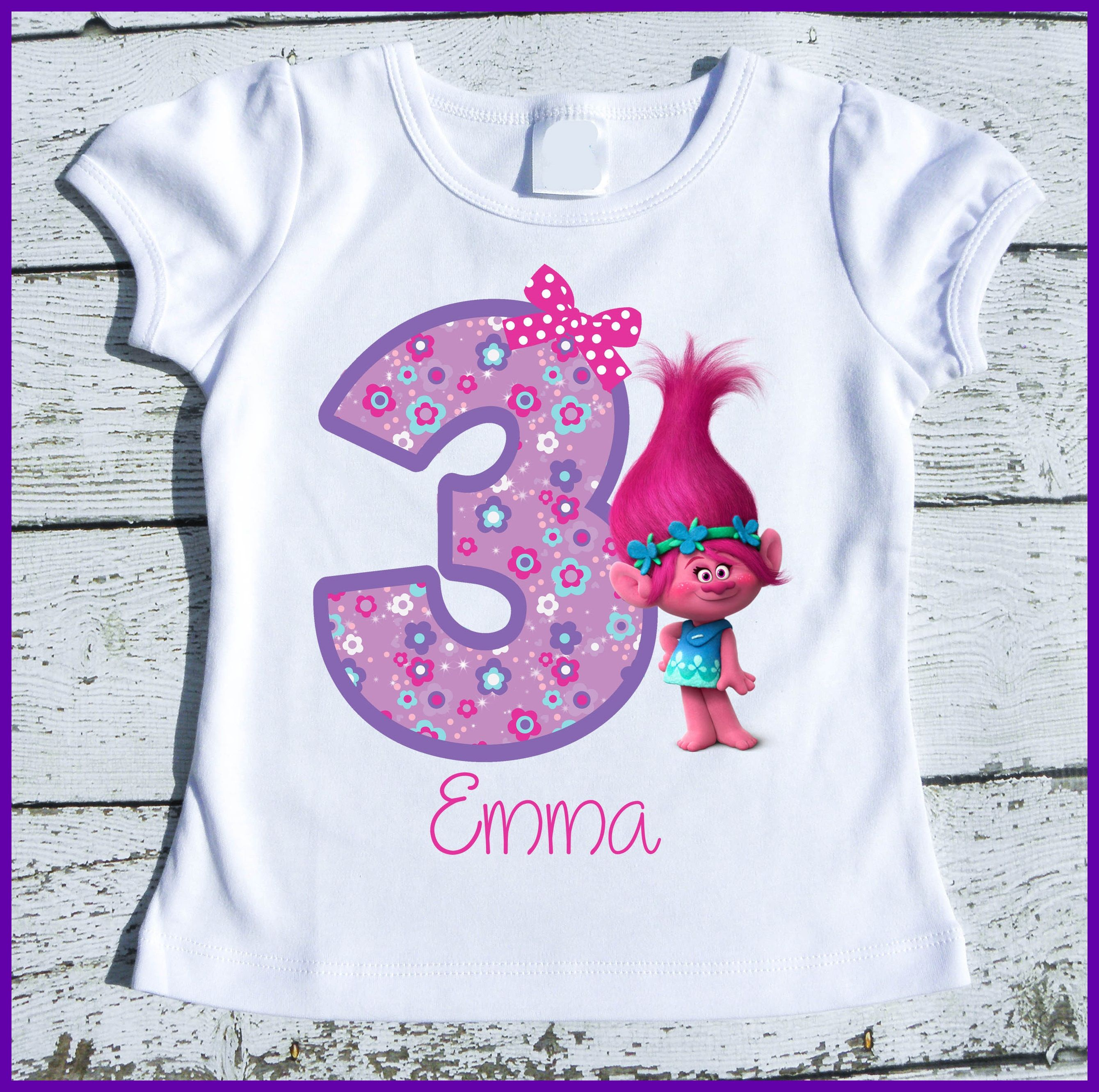 Poppy Trolls Birthday Tee Shirt Custom Personalized With Name And Age Party