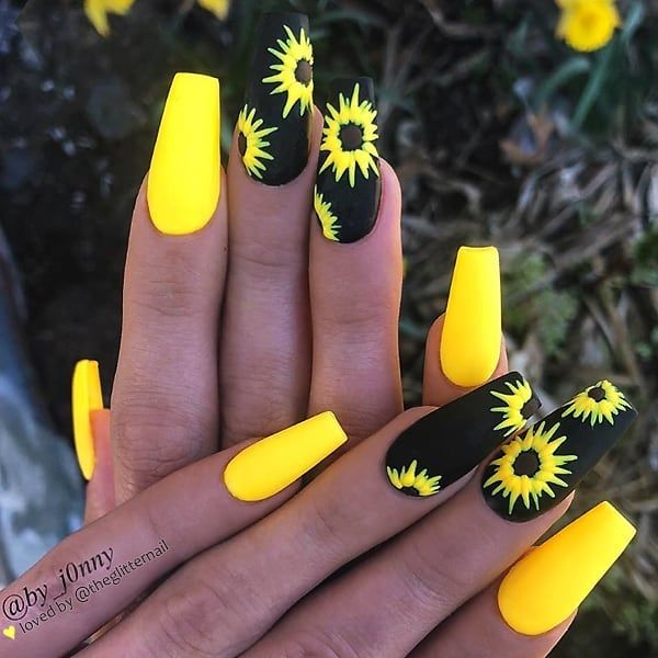 Matte Sunny Yellow and Black with Hand Painted Sunflowers on Coffin Nails • Nail Artist @by j0nny Follow him for mo     CoinOku is part of Prom nails Black Almond -  Matte Sunny Yellow and Black with Hand Painted Sunflowers on Coffin Nails 👌 • 💅 Nail Artist @by j0nny 💝 Follow him for more gorgeous nail art designs • 👉 Turn on post notification, if you don't want to miss any of my @nailsartstylish posts  🤗😘❤ • View this post on Instagram ✨🌻🖤🌻✨ Matte Sunny Yellow and Black with Hand Painted Sunflowers on Coffin Nails 👌 • 💅 Nail Artist @by j0nny 💝 Follow him for more gorgeous nail art designs • 👉 Turn on post notification, if you don't want to miss any of my @nailsartstylish posts  🤗😘❤ • A post shared by Nail Art l Glamour l Fashion (@nailsartstylish) on Apr 25, 2019 at 1225pm PDT