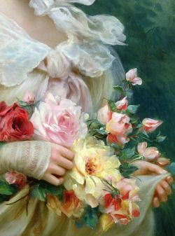 Elegant Lady with a Bouquet of Roses (detail) - Emile VernonOil on canvasc. 1900s