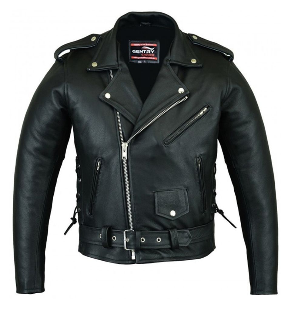 All Sizes Mens Brando Style Motorcycle//Motorbike Cowhide Leather Jacket In Black