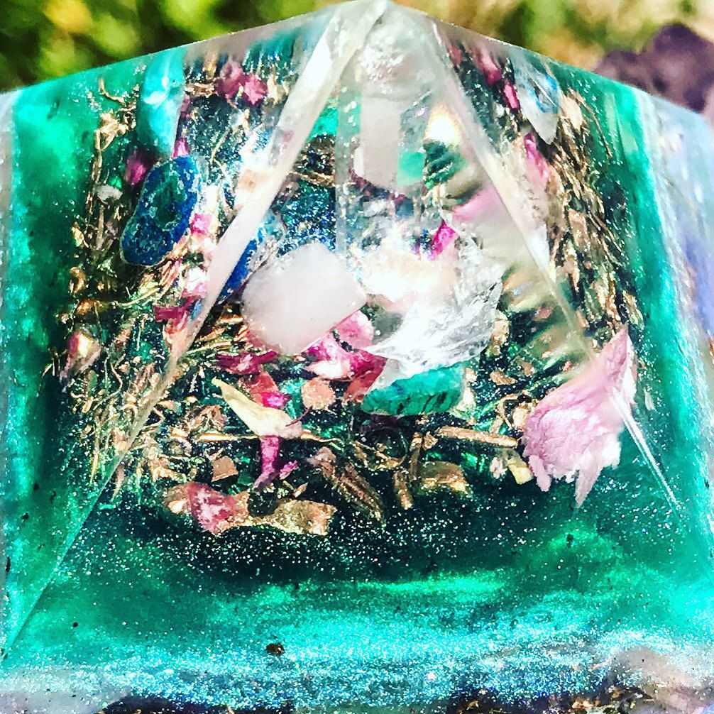 Close up of my new Goddess inspired orgone pyramids