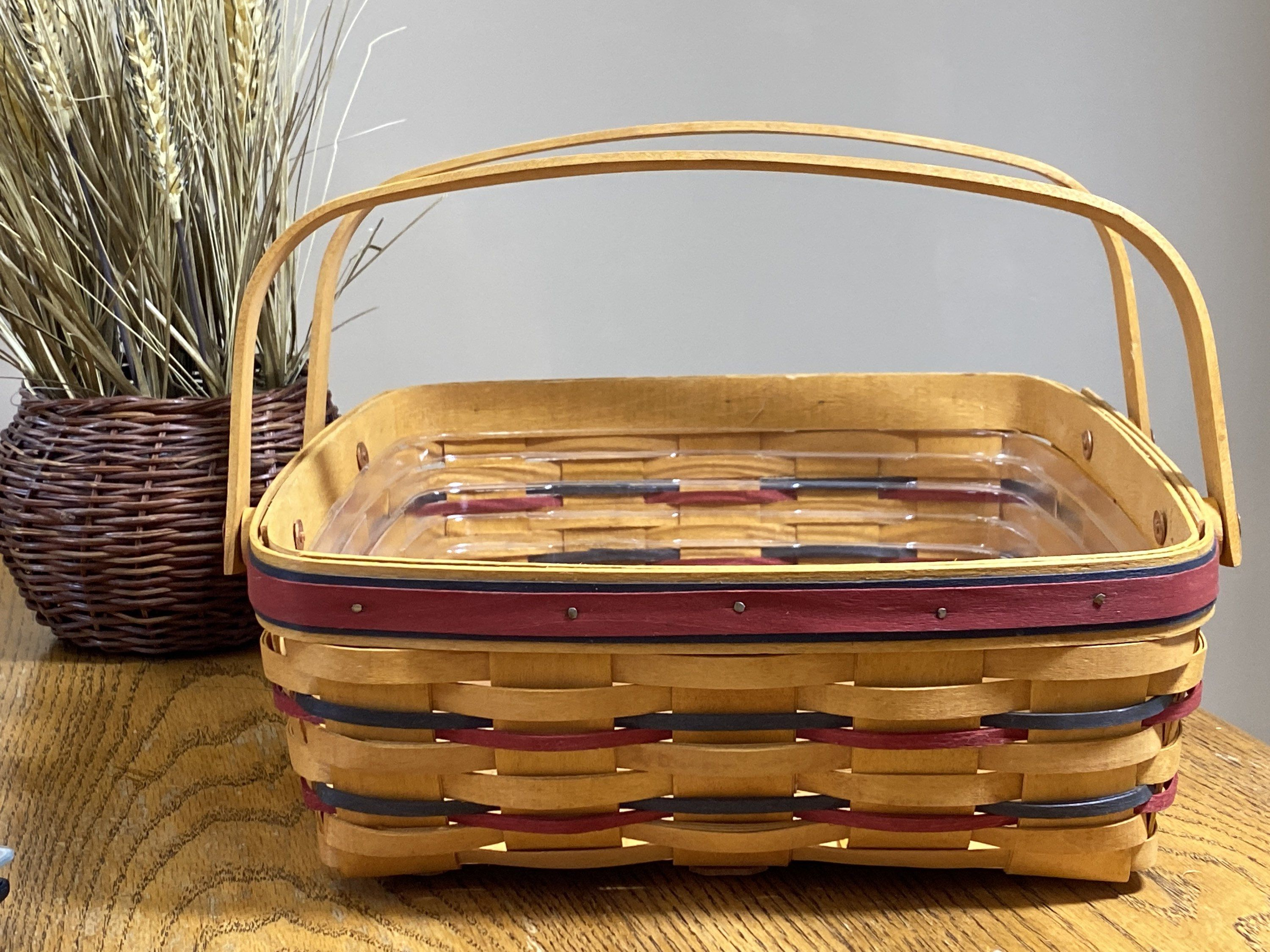 Vintage Longeberger Small Wooden Basket With Handle Easter Basket Made in The USA Red Trim Basket