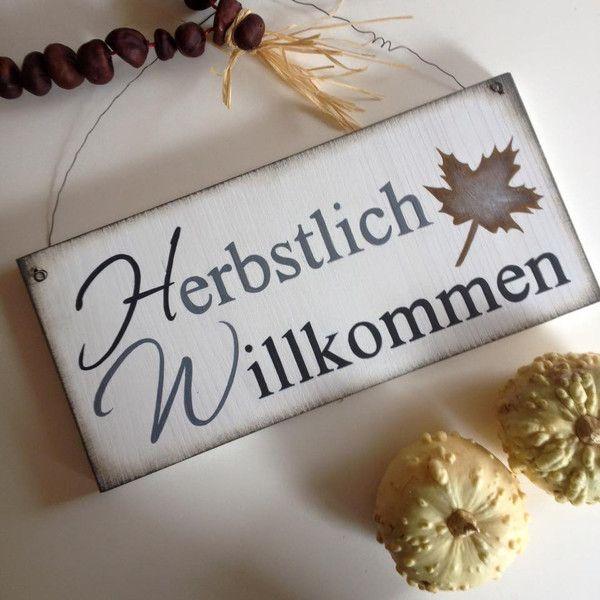 Deko Objekte Sofort Lieferbar Turschild Willkommen Herbst