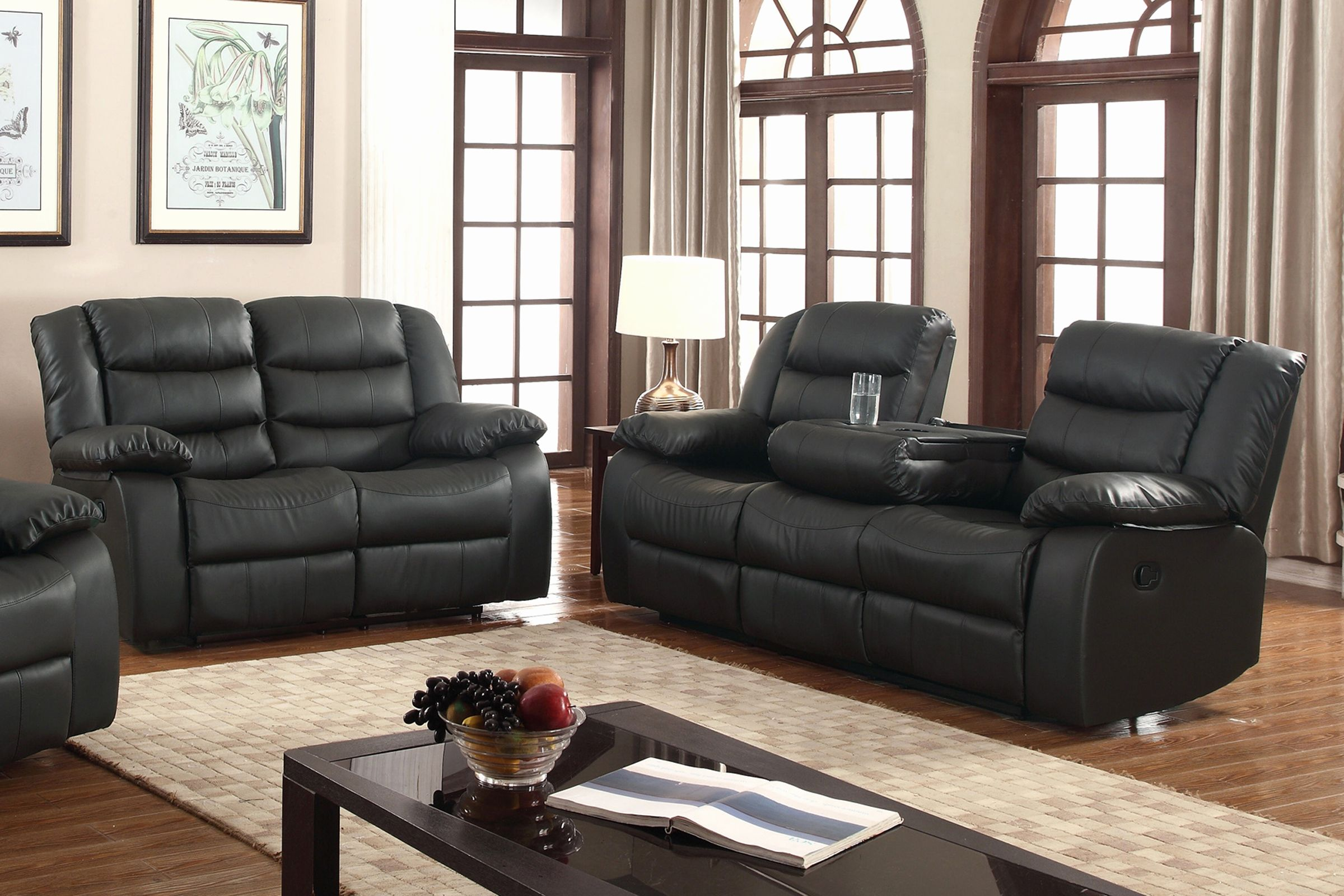 Nice Black Microfiber Sofa And Loveseat Set , Super Black Microfiber Sofa  And Loveseat Set 96