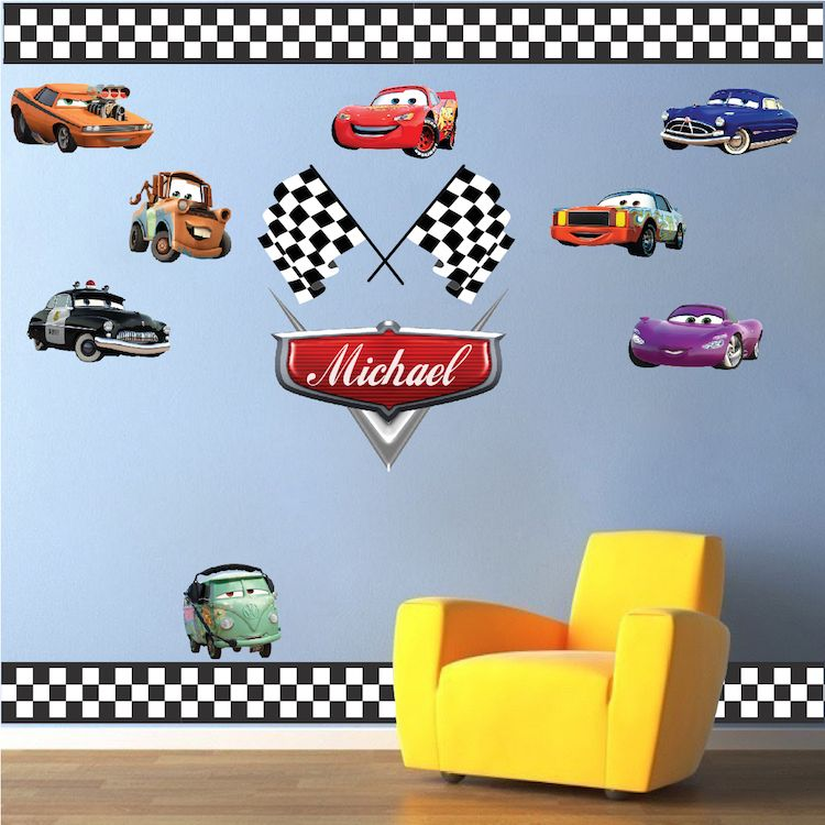Personalized Boys Race Car Name Decal Car Wall Decals Automotive Decals Kids Room Wall Murals Race Track Wall Stickers Sports Wall Decals Kids Wall Decals Kids Room Wall Murals