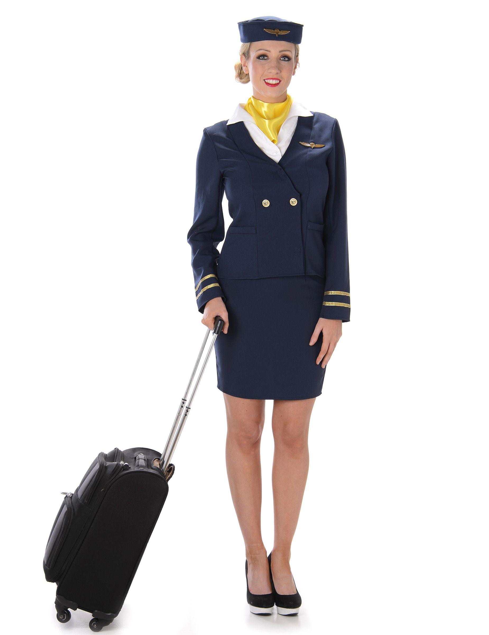 wholesale dealer 10352 0e576 Costume da hostess di volo blu per adulto   San Valentino en ...