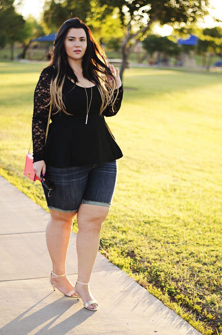 c578278fd50c7 bermuda shorts peplum shirt city chic date night plus size ootd iridescent  heels casual simple chic