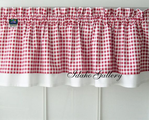 Red White Check Gingham Window Treatment Kitchen Curtain, Double Layered  Valance Short Little Country Curtain