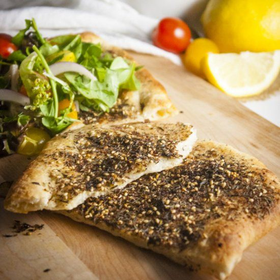 Za'atar Flatbread : Exotic comfort food in under 15 minutes and 355 calories. #LEBANESEPRIDE