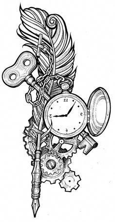 Image result for steampunk pocket watch drawing #