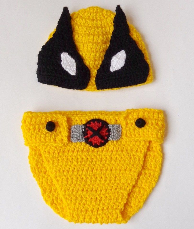 eecd82f8b27dd7 .37+ Great Picture of Crochet Superhero Hat Patterns Crochet Superhero Hat  Patterns Wolverine Marvel Costume Hat And Diaper Cover Wolverine Beanie #  ...