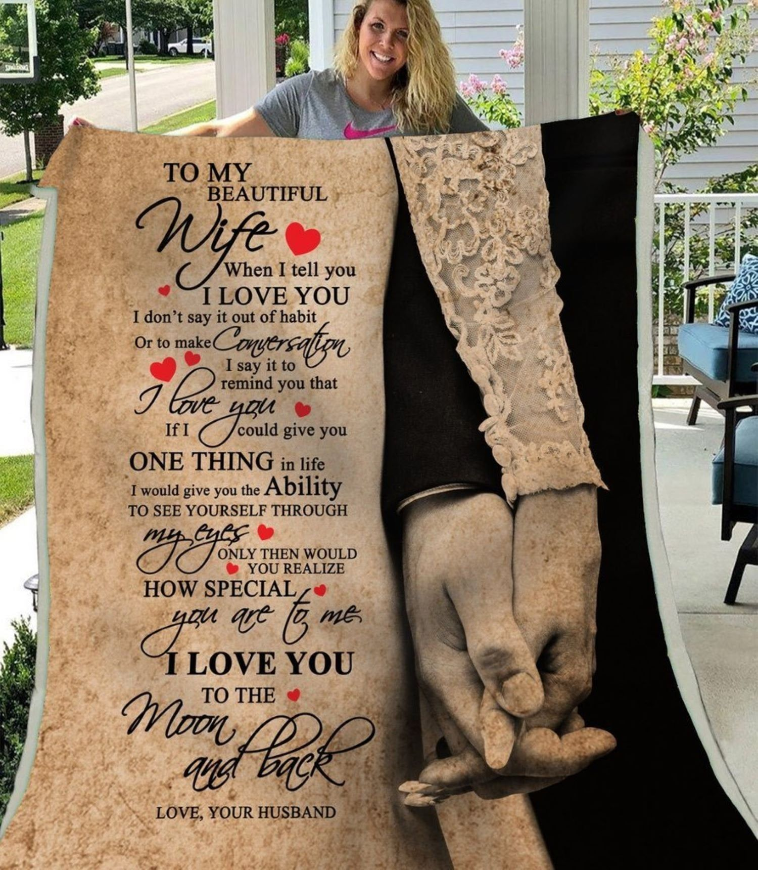 My Beautiful Wife I Love You To The Moon Back Fleece Blanket Gift For Wife Husband And Wife Couple Blan Blanket Gift Beautiful Wife Gifts For Disney Lovers