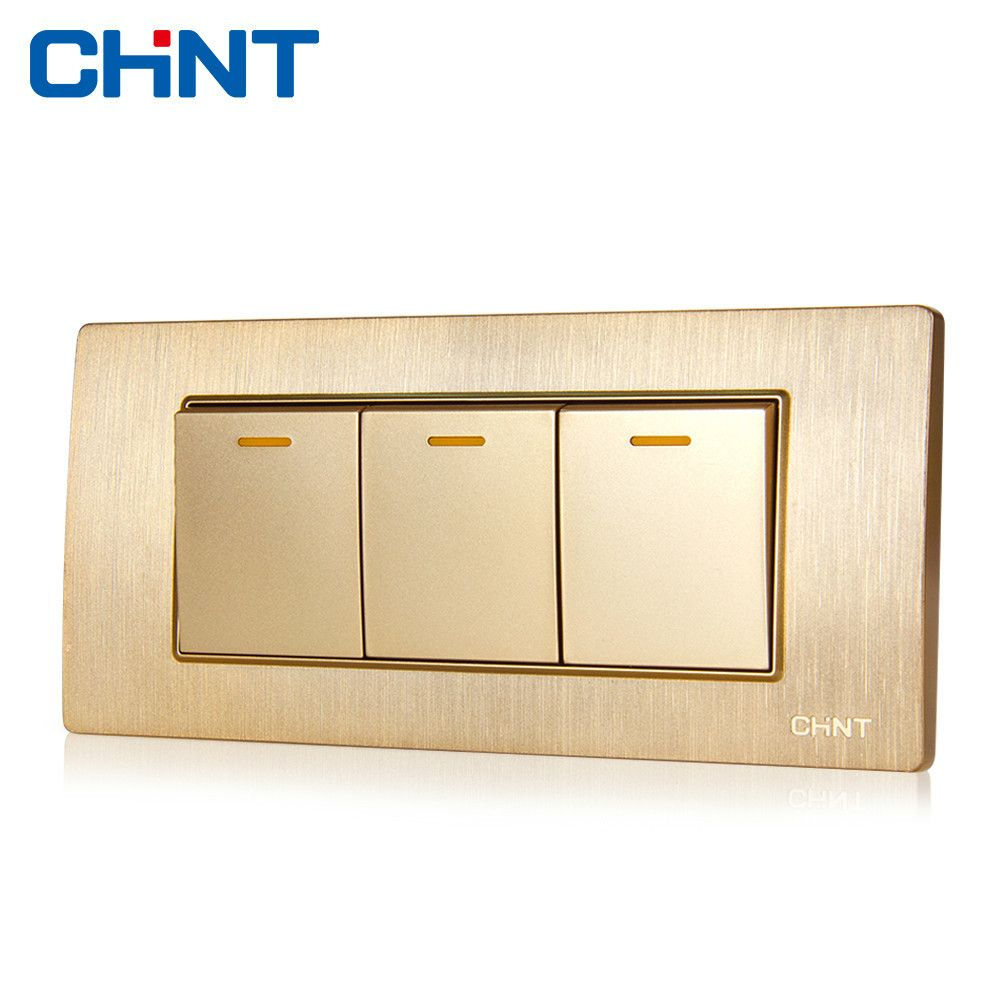 Chint Electric Decor Light Switches 118 Type Switch Socket New5d Embedded Steel Frame Three Gang Two Way Switch Decor Lighting Light Switch Steel Frame
