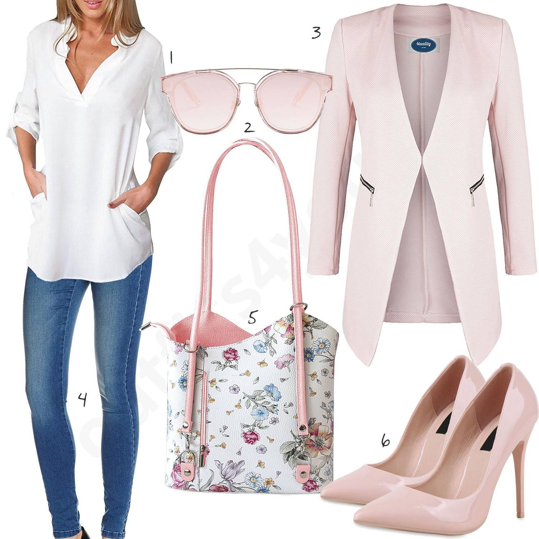 Elegantes Damenoutfit mit Bluse, Blazer und Jeans | Bluse