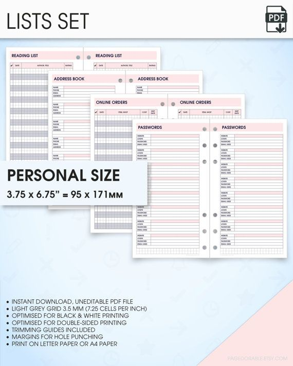 lists filofax personal size planner inserts printable address book