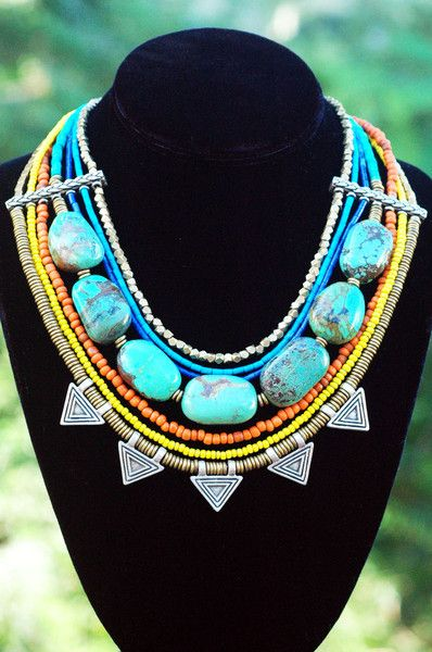 Cleopatra: Turquoise, Orange , Yellow and Mixed Metal Egyptian Collar Necklace $395