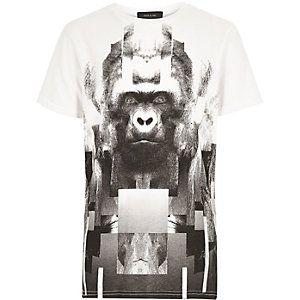 Weißes T-Shirt mit Gorilla-Motiv