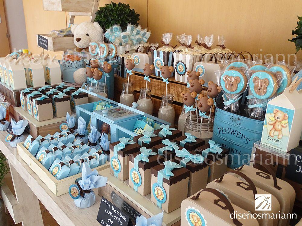 Mesa osos vintage bautizo ni o mesas de dulces for Como decorar mesa de postres para baby shower