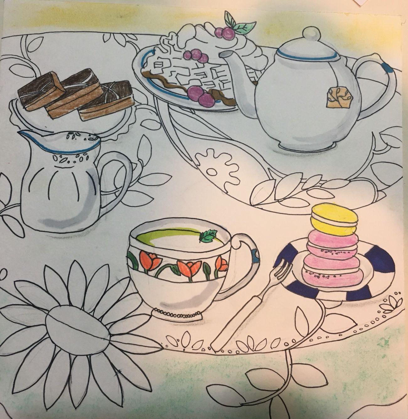 Han chae won tea time water felt pens pastel pencil etc