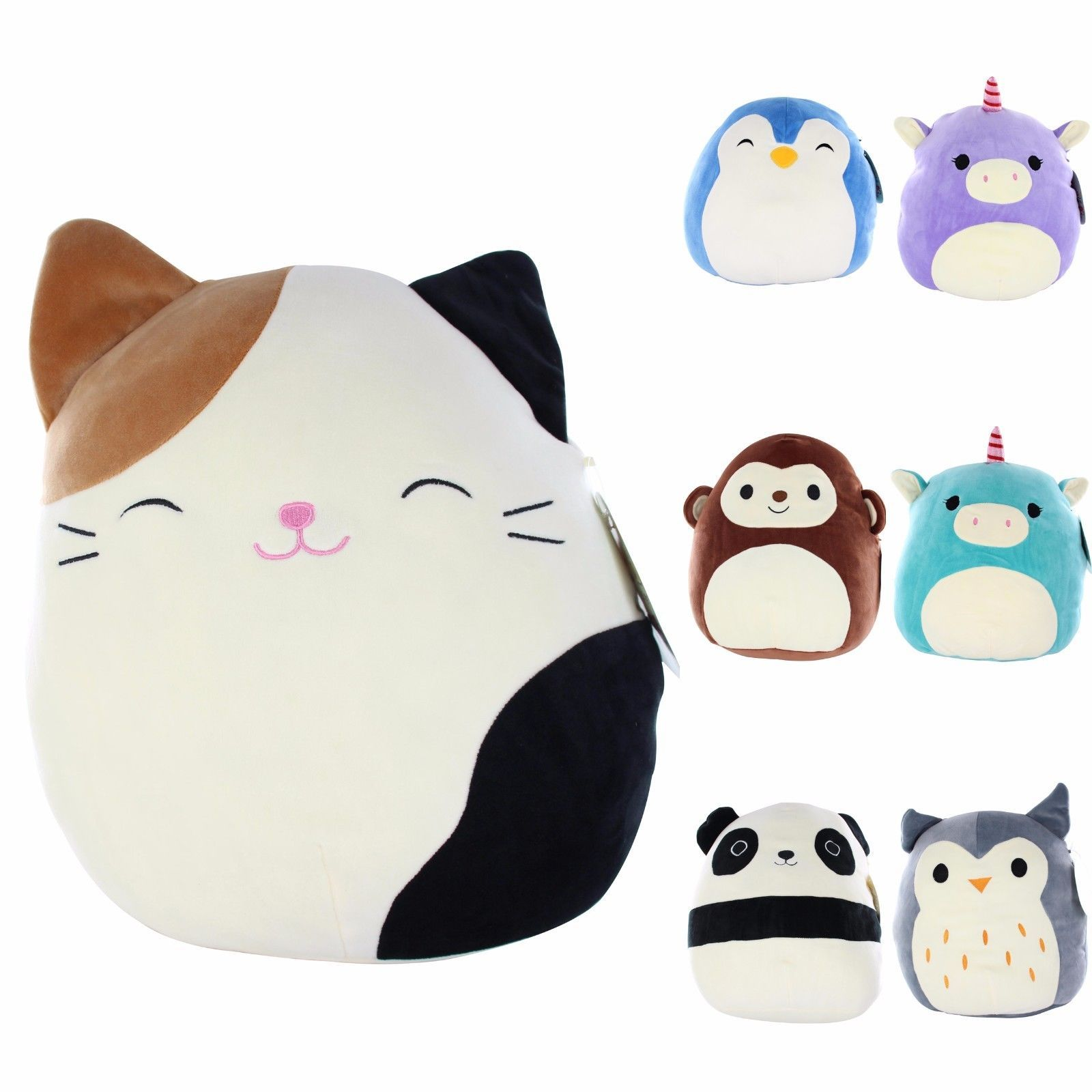 Squishy Mallow Animal Cute Super Soft Face Stress Less Throw Pillow Great Gift Ebay Home Garden Animal Pillows Pillow Pals Pet Toys