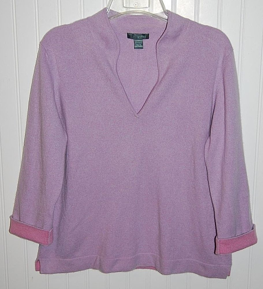 Griffin 100% Cashmere Sweater Womens XL 3/4 Flip Sleeve V Neck ...