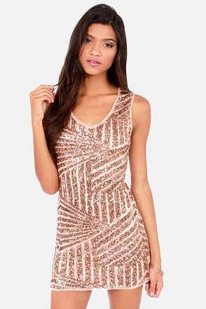 9e85102059 Opulence is Bliss Rose Gold Sequin Dress at LuLus.com! the perfect sexy  cute holiday party dress #lulus #holidaywear