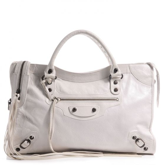 This is an authentic BALENCIAGA Agneau City Bag in White. This stylish tote  is beautifully crafted of agneau lambskin leather. My brain says . 72133884c2