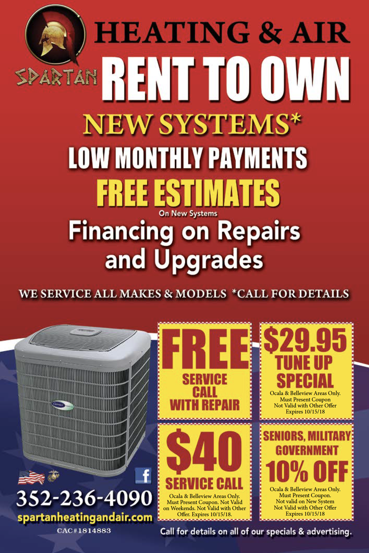 Rent to own new systems... Free estimates Air heating