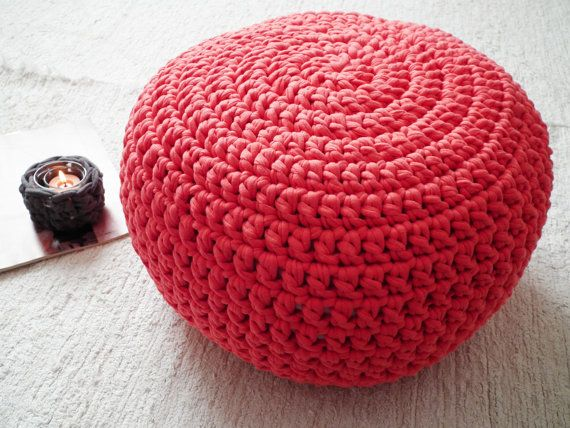 Coral Crochet Pouf Floor Cushions Ottoman By LoopingHome