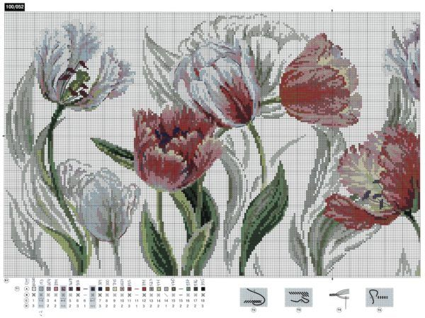 Бесплатно схема для вышивки крестом тюльпанов